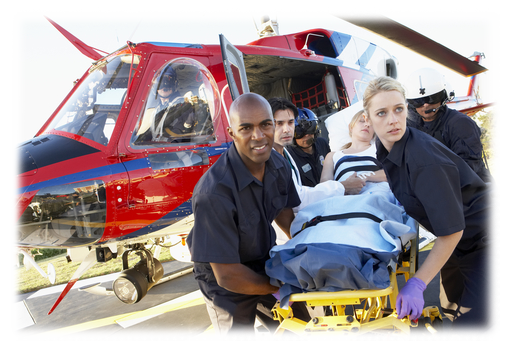 Paramedics moving a patient from a helicopter