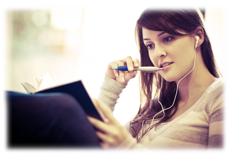 Student listening to music while studying
