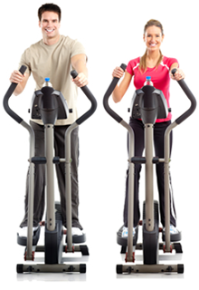 Two people excercising on ellipticals