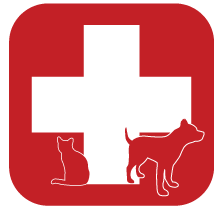 Medical symbol with silhouettes of animals