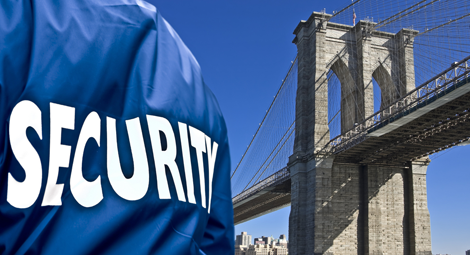 Security Guard Outside the Brooklyn Bridge